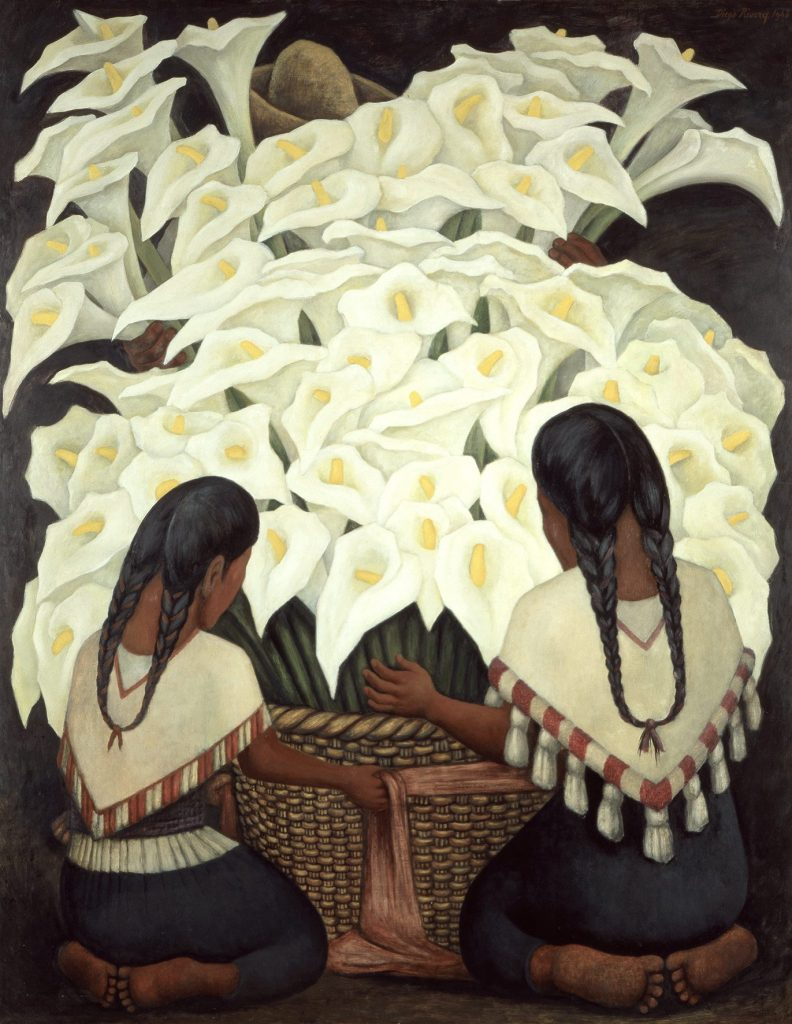 Diego Rivera, Calla Lilly Vendor, 1943. Oil on Masonite; 59.1 x 47.2 in. (150 x 120 cm). The Vergel Foundation and MondoMostre in collaboration with the Instituto Nacional de Bellas Artes y Literatura (INBAL). © 2020 Banco de México Diego Rivera Frida Kahlo Museums Trust, Mexico, D.F./Artists Rights Society (ARS), New York. Photo by Gerardo Suter.